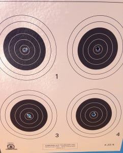 200-20x on a 50 yard target. I was very excited to shoot a new personal high of 1199 on the third day (iron sights!).